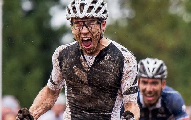 The New Zealand cross country mountain biker Anton Cooper wins the under-23 World Championship title, 2015.