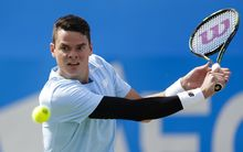 19.06.2015. London, England. Queens Aegon Championship Tennis. Milos Raonic (CAN) versus Gilles Simon (FRA), Quarter Final match. Milos Raonic in action