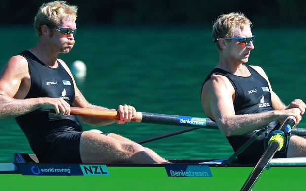 The world champion New Zealand men's pair of Eric Murray and Hamish Bond.