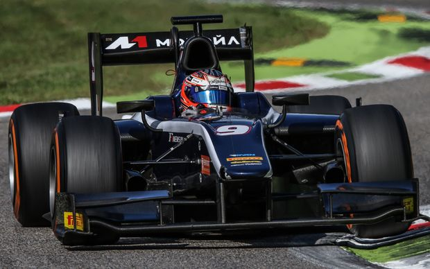 The Russian Time driver Mitch Evans of New Zealand competes in Round 8 of the GP2 series in Monza, Italy. 2015.
