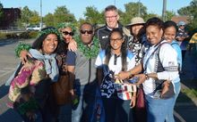 Fiji rugby coach John McKee with some fans.