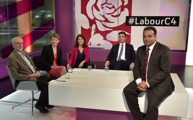 The labour leadership candidates from left Jeremy Corbyn, Yvette Cooper, Liz Kendall and Andy Burnham.