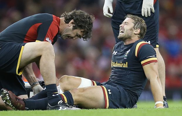 Wales fullback Leigh Halfpenny being treated for injury 2015.