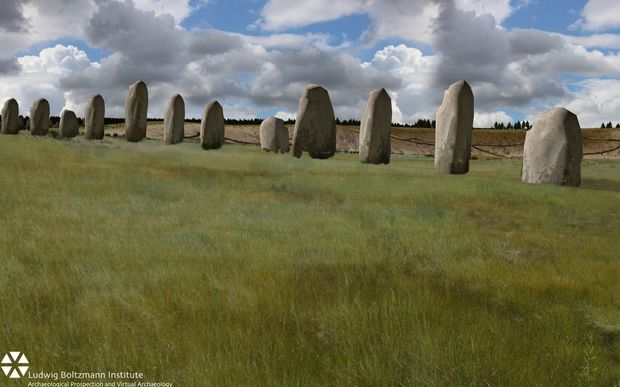 A computer simulation of how the stones would have looked, thousands of years ago.