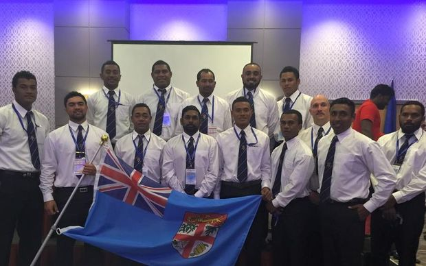 Fiji men's team at the launch for World Cricket League 6.