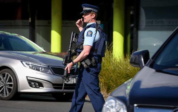 Police at the scene of the shooting in Upper Hutt yesterday.