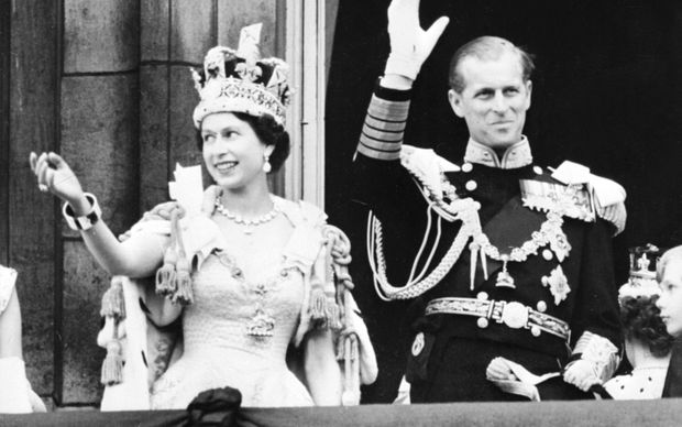 Queen Elizabeth II and Prince Phillip on the day of her coronation in 1953.