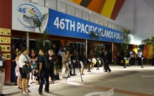 Media await leaders at the opening of the Pacific Islands Forum