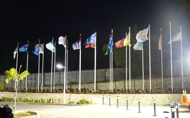 Flags flying at the 46th Pacific Islands Forum in PNG