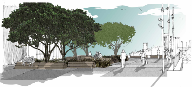 An artist's impression of the promenade in front of the planned Park Hyatt in Auckland.