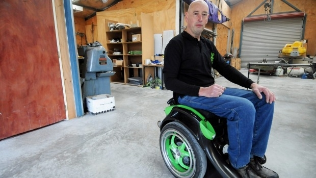 Kevin Halsall and his award-winning electric wheelchair.