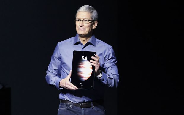 Apple CEO Tim Cook reveals the new iPad Pro.