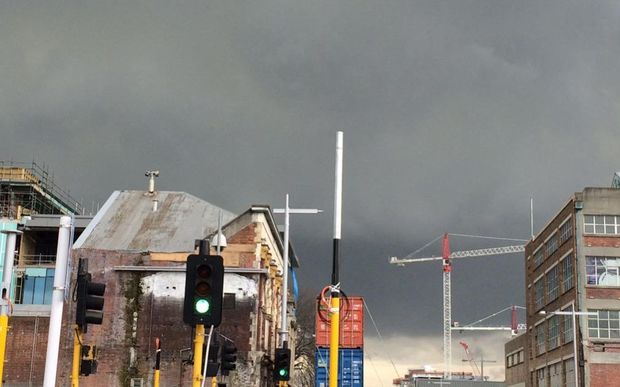 A dramatic sky above Christchurch as the temperature plummeted this afternoon.