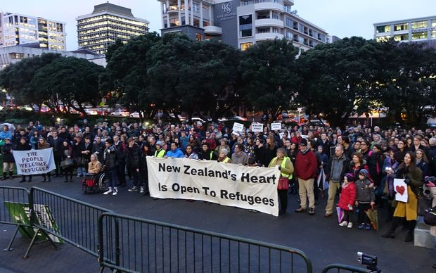 A vigil at Parliament calling for New Zealand to double its refugee quota.