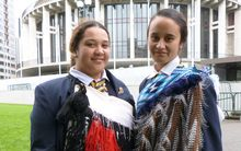 Turakina head girl Te Arihi Leaf, left, and deputy head girl Brooke Rangitawa.