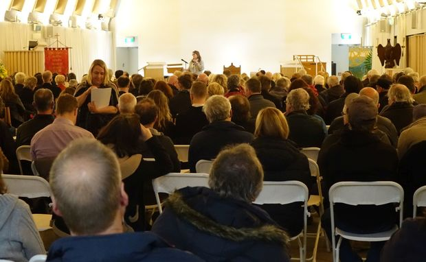 A packed meeting at the Transitional Cathedral last night.