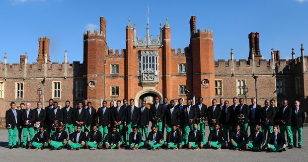The Fiji team outside Hampton Court Palace in London, following their official Rugby World Cup welcoming ceremony.