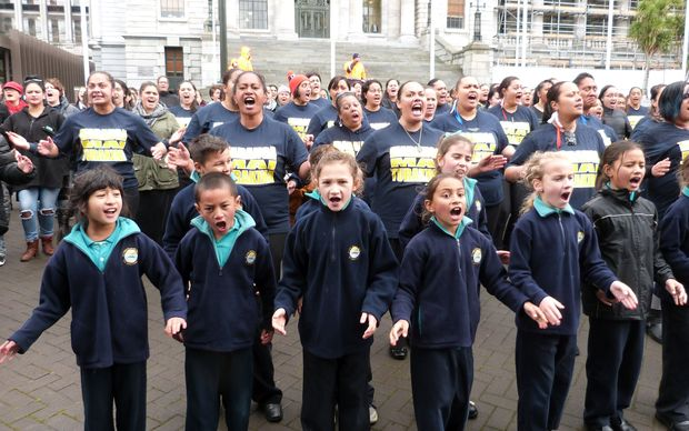 Former students join the Hastings community in a haka outside Parliament.