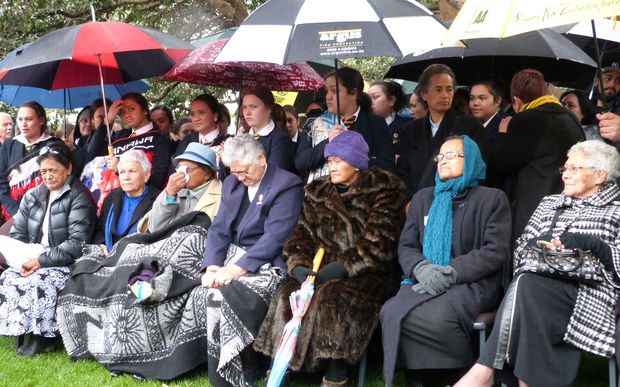 Turakina Maori Girls College students and supporters outside Parliament.
