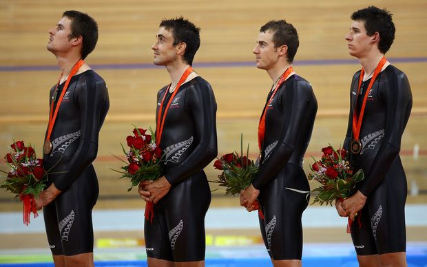 The New Zealand men's team pursuit foursome consisting of (L-R) Sam Bewley, Hayden Roulston, Marc Ryan and Jesse sergent win bronze in the final of the 4000m team pursuit at the 2008 Beijing Olympic Games. 18 August 2008. Photo: Lawrence Smith/PHOTOSPORT