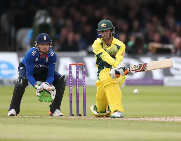 Glenn Maxwell reverse sweeps Moeen Ali during the second International between England and Australia at Lord's.