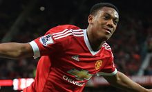 Manchester United's Anthony Martial celebrates after scoring their 3rd goal.