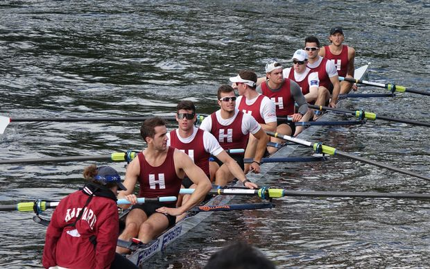 The victorious Harvard rowing crew.
