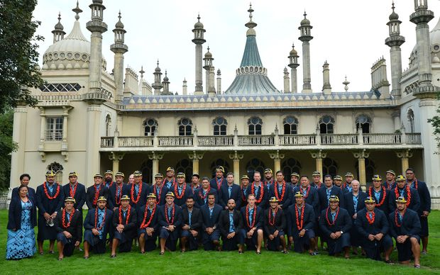 The Manu Samoa team at their Rugby World Cup welcoming ceremony at the Royal Pavilion in Brighton.