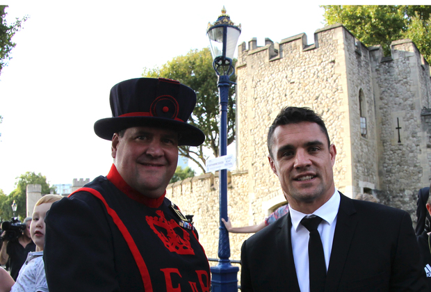 11.09.2015. London, England. Dan Carter from New Zealand, All Blacks, at the welcome ceremony, held at Tower of London for the upcoming Rugby World Cup finals.