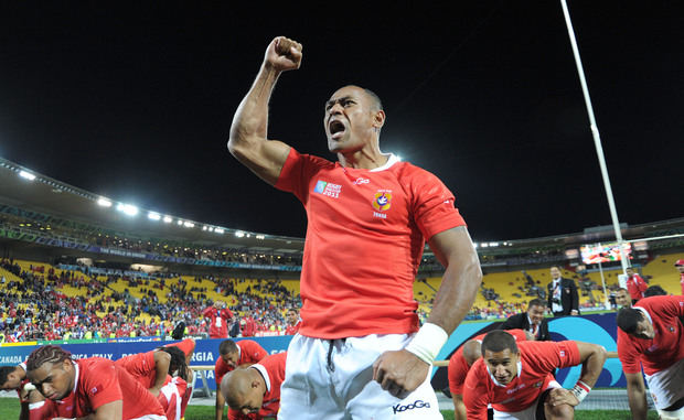 Tonga's Vungakoto Lilo leads a victory haka after they beat France in 2011.