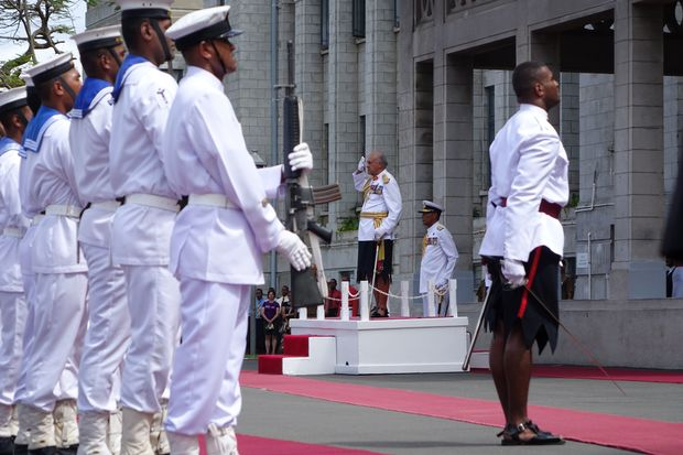 The Fijian president Ratu Epeli Nailatikau inspects the Guard of Honour before addressing parliament