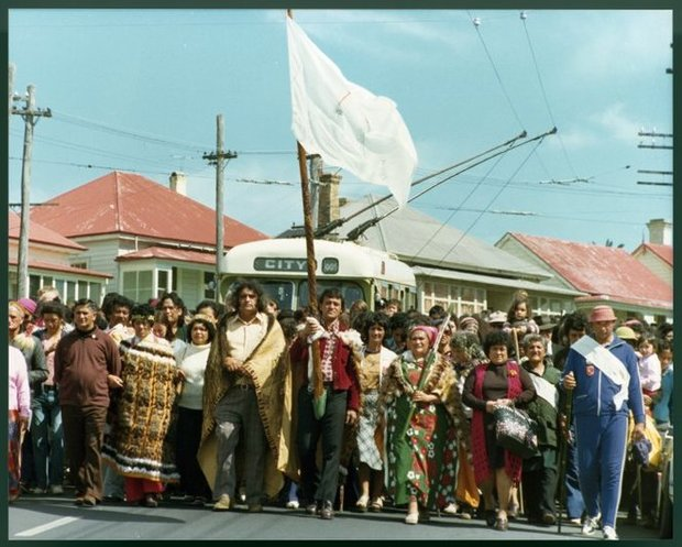 Photograph of protesters on the Maori Land March, College Hill, Auckland. Heinegg, Christian F.