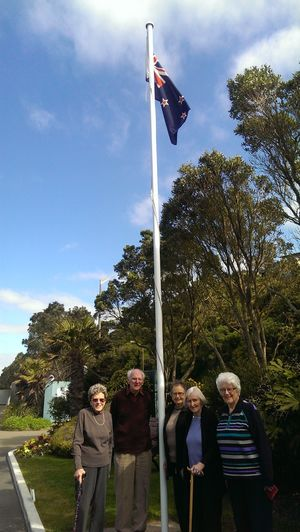 Residents at Wellington's Malvina Major Retirement Village, from left, Barbara Gillespie, John Scott, Kath Herman, Margaret Batley and Mavis Johnston.