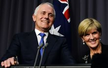 Australian Prime Minister designate Malcolm Turnbull with Deputy Prime Minister designate Julie Bishop after winning the Australian Federal leadership in a party ballot vote, Sept. 14, 2015.