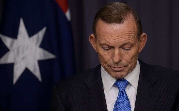 Tony Abbott at a media conference during the leadership challenge.