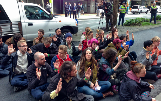 Protesters on Lambton Quay, central Wellington.