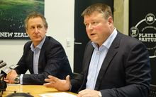Silver Fern Farms chairman Rob Hewett (right) and chief executive Dean Hamilton, at today's press conference at the company's Dunedin headquarters.