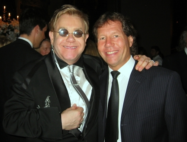 Clive Franks with Elton John at his 60th birthday party in New York in 2007