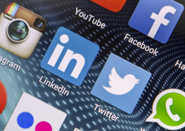 social media apps - Twitter, Facebook, Instagram, LinkedIn