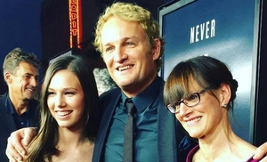 "Tim Bevan, Sarah Arnold-Hall, Jason Clarke and Jan Arnold at the premiere of ""Everest""."