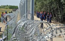 Migrants and refugees walk near razor-wire along a three-meter-high fence secured by Hungarian police at the official border crossing between Serbia and Hungary.