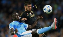 Bacary Sagna of Manchester City and Alvaro Morata of Juventus 2015.