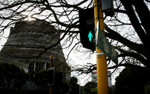 Kate Sheppard crossing outside the Beehive.