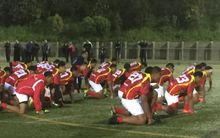 The Tonga Under 15 rugby team perform a haka during their New Zealand tour.