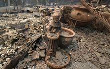 A statue amidst rubble from a burned out home.