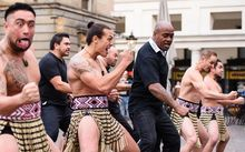 Former New Zealand rugby player Jonah Lomu and members of the Ngāti Rānana London Māori Club take part in a haka during a photocall in central London.