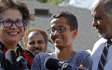 (L-R) Attorney Linda Moreno, Ahmed Mohamed, and Mohamed Elhassan Mohamed address the media during a news conference on September 16, 2015 in Irving, Texas.