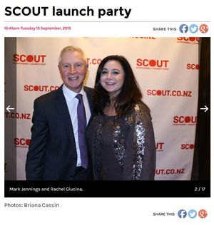 Screenshot of TV3's Mark Jennings and Rachel Glucina together in Scout's coverage of its own launch party.