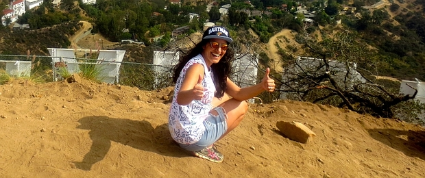 Madeleine Sami at the Hollywood sign.