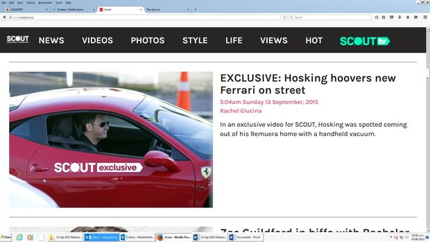 Screenshot of Scout's launch day scoop on Mike Hosking cleaning his car.